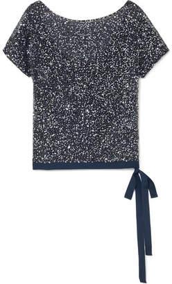 Jenny Packham Bay Embellished Tulle Top - Blue