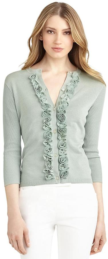 Brooks Brothers Silk and Cotton Rose Cardigan