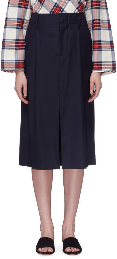 Pleated split hem wool-silk suiting skirt