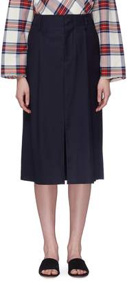 MS MIN Pleated split hem wool-silk suiting skirt