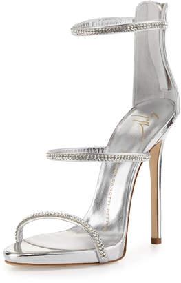 Giuseppe Zanotti Jeweled Three-Strap 110mm Sandals, Silver