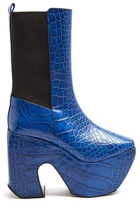 Marques Almeida Marques'almeida - Crocodile Effect Leather Platform Boots - Womens - Blue