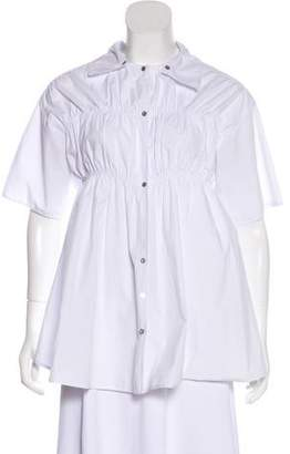 Opening Ceremony Short Sleeve Ruched-Accented Top