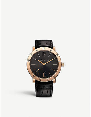 Bvlgari Roma 18kt pink-gold and alligator leather watch