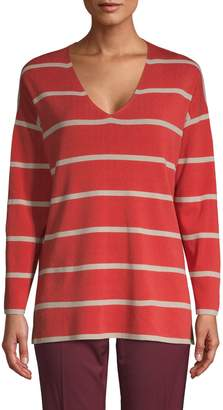 Lafayette 148 New York Striped V-Neck Sweater