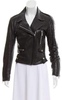 Barbara Bui Python-Accented Leather Jacket
