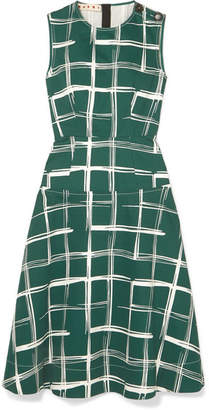 Marni Printed Cotton And Flax-blend Midi Dress - Green