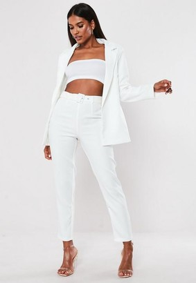 Missguided White Belted Cigarette Pants