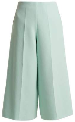 DELPOZO Cropped Wide Leg Wool Trousers - Womens - Light Blue