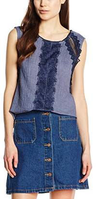Ange Women's Plain Sleeveless Blouse - Blue - (S)