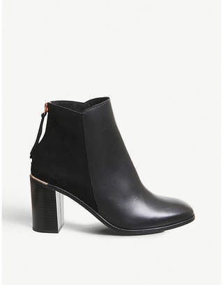 Office Adelle leather square-toe boots