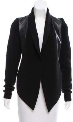 Ohne Titel Leather-Accented Shawl-Lapel Jacket