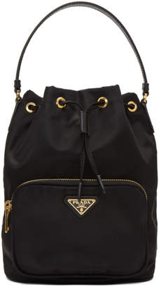 Prada Black Triangle Logo Bucket Bag