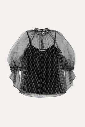 Erdem Nayla Swiss-dot Tulle Blouse - Black