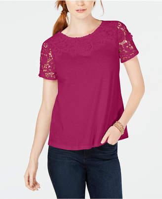 Charter Club Cotton Crochet Short-Sleeve T-Shirt