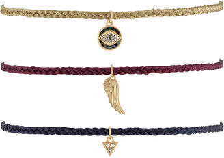 Rachel Roy Gold-Tone 3-Pc. Set Pave Charm Braided Choker Necklaces