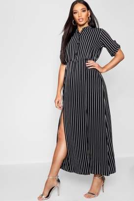 boohoo Collarless Woven Stripe Maxi Shirt Dress