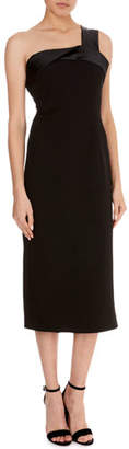 Victoria Beckham Crepe Satin-Trim One-Shoulder Drape Dress