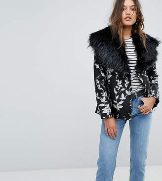 Dolly & Delicious Premium Embroidered Jacquard Aviator Biker Jacket With Fluffy Collar Detail