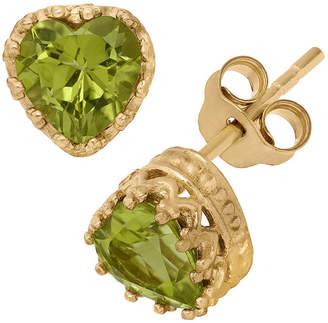 FINE JEWELRY 14K Gold Over Sterling Silver Genuine Green Peridot Crown Earrings