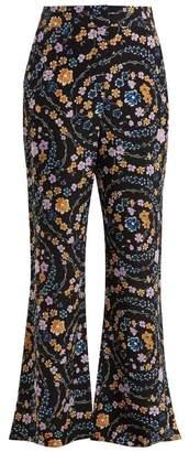 See by Chloe Floral Print Crepe Trousers - Womens - Black Multi