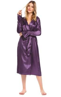 Ekouaer Women s Luxury Long Silk Kimono Robe Shawl Collar Long Sleeve Satin  Sleepwear 5e1722488