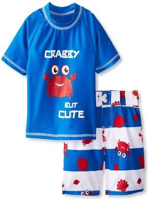 iXtreme Little Boys Swimwear Crab Short Sleeve Rashguard Swim Board Short Trunk