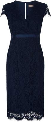 Jaeger Wrap Front Grosgrain Waisted Lace Dress