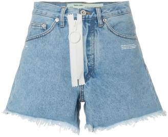 Off-White high waisted frayed denim shorts