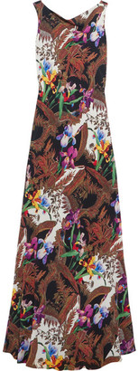 Etro - Open-back Printed Silk-crepe Gown - Brown $2,320 thestylecure.com