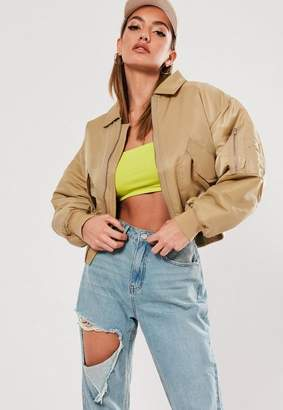 Missguided Sand Ultimate Padded Utility Bomber Jacket