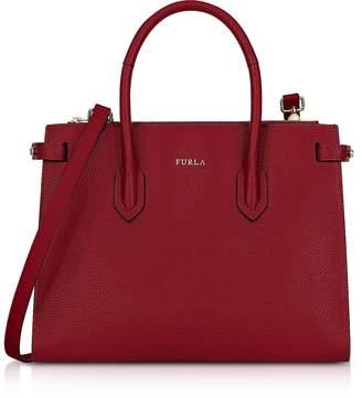 Furla Cherry Leather Pin Small E/W Tote Bag