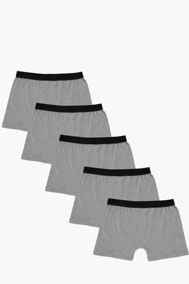 boohoo 5 Pack Plain Grey Trunks