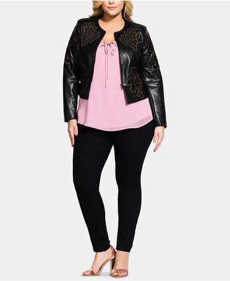 ab1e70ea94d City Chic Trendy Plus Size Embroidered Faux-Leather Jacket