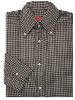 Isaia Checkered Dress Shirt