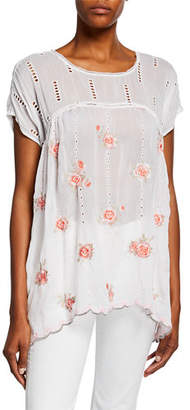 Johnny Was Rose Floral Embroidered Dolman Top w/ Eyelet Details