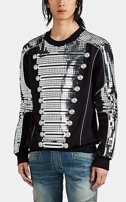 Balmain Men's Mirror-Appliquéd Cotton Sweatshirt - Black