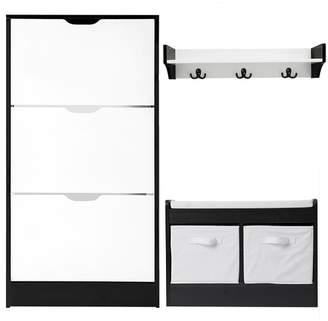 Kian Shoe Cabinet & Bench Set with Wall Shelf