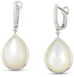 Frederic Sage Luna White Mother-of-Pearl Earrings with Diamonds in 18K White Gold