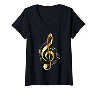 Womens Musical Treble Clef Music Notes G Clef V-Neck T-Shirt