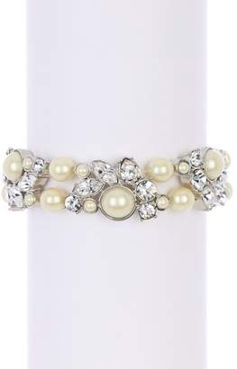 Carolee Crystal Station & Imitation Pearl Stretch Bracelet