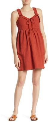 GOOD LUCK GEM V-Neck Textured Babydoll Dress