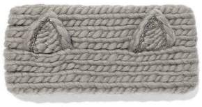 Eugenia Kim Kat Crystal-Embellished Cable-Knit Wool Headband