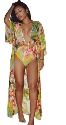 Tiny House Of Fashion Yellow Floral Swimsuit Set