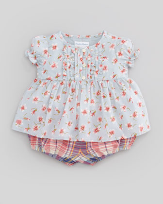 Ralph Lauren Floral-Print Top & Plaid Bubble Short Set, 3-9 Months