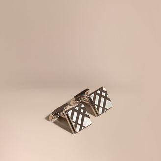 Burberry Check-engraved Square Cufflinks $195 thestylecure.com