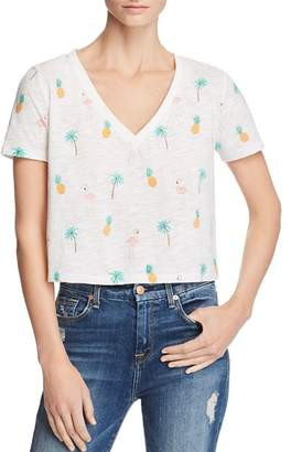 Honey Punch Tropical Print Cropped Tee