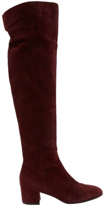 Gianvito Rossi Burgundy Suede Boots
