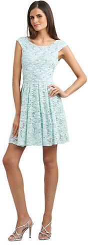 HAILEY LOGAN Pleated Lace Cap Sleeve Dress