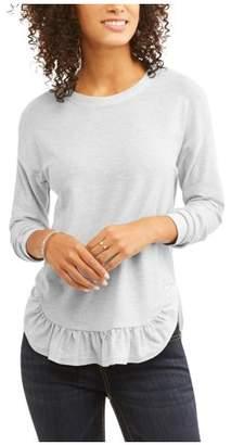 Como Blu Women's Shiny French Terry Ruffle Hem Sweatshirt